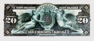 Billete de Bs. 20 Banco Mercantíl y Agrícola 1926